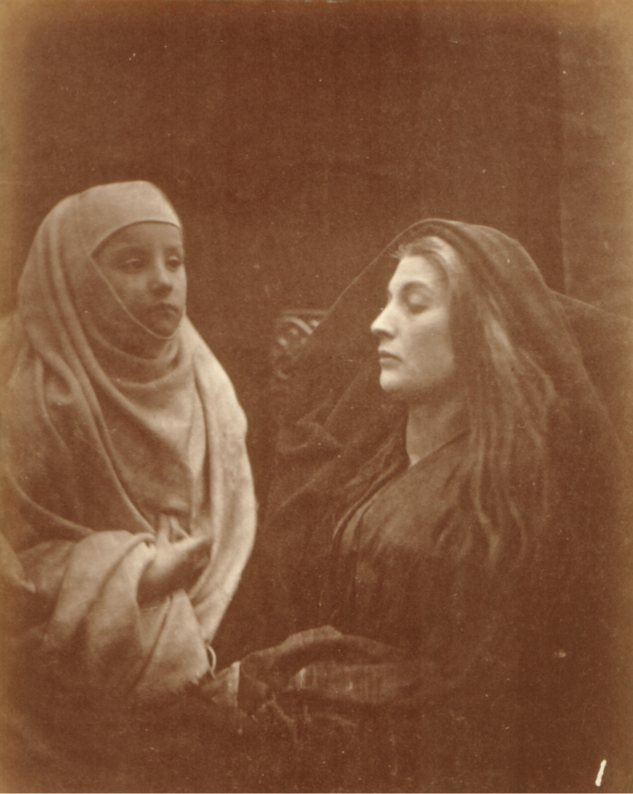 Julia Margaret Cameron, 'The Little Novice and the Queen', plate XI from Idylls of the King, albument print 1874