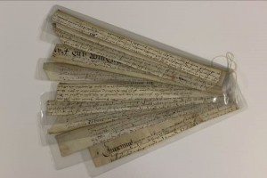 Fig. 11: The encapsulated fragments were kept in the groupings as received using waxed linen thread or archival tape.