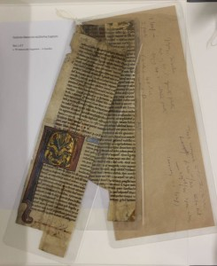 Fig. 12: Provenance notes and bookbinder's scribbles on envelopes were retained, cleaned, encapsulated and attached to the groupings of fragments.