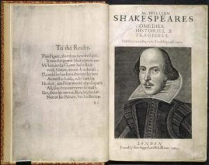 Image credit: Shakespeare first folio title page http://www.english.ox.ac.uk/event/oxford-wells-lectures-shakespeares-originality-upstarts