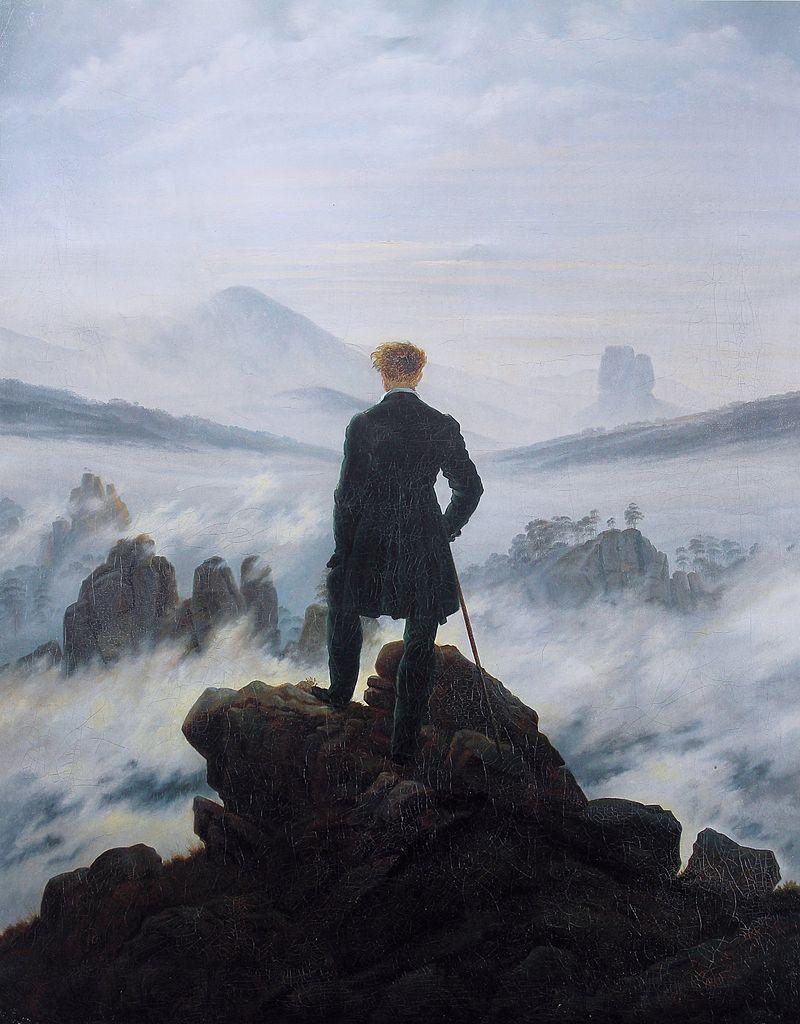Caspar David Friedrich, Der Wanderer über dem Nebelmeer (1818) oil on canvas (98.4 cm × 74.8 cm) Kunsthall Hamburg