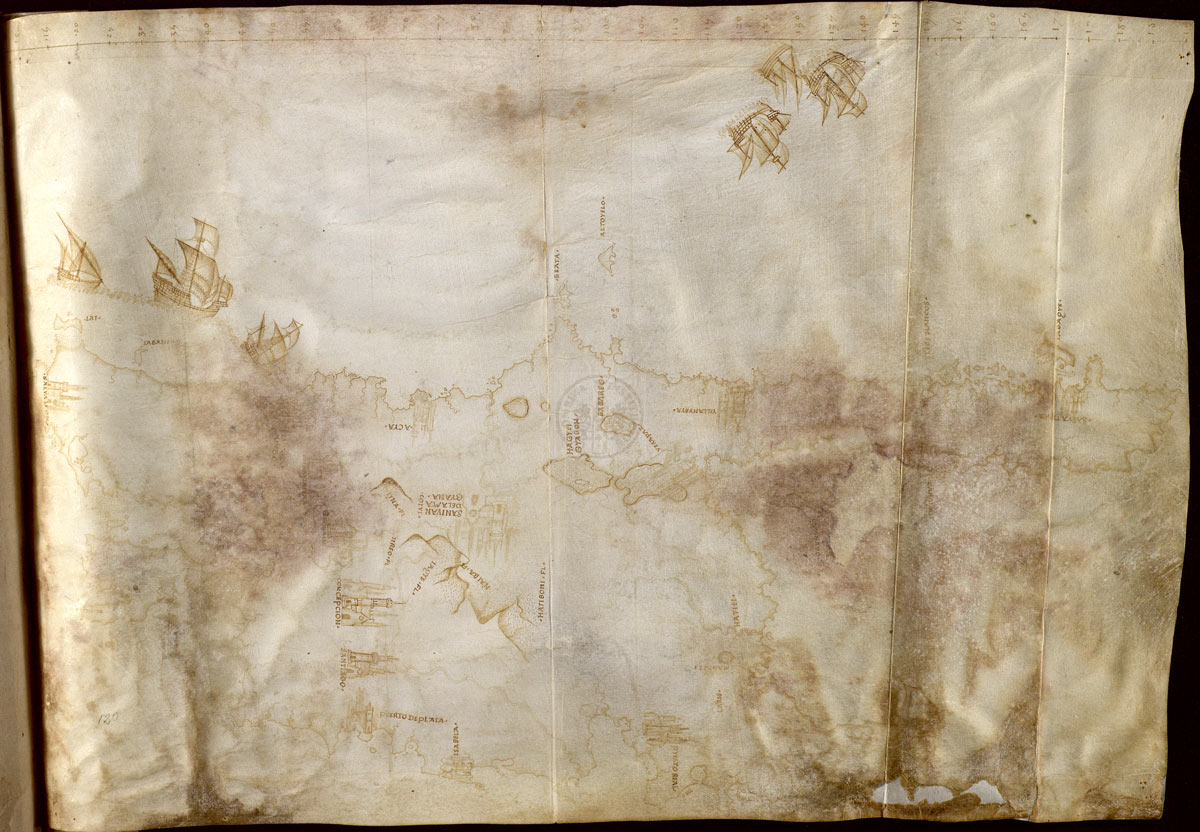 Mapa de La Española. Reproducido con permiso del Cabildo Catedral de Sevilla. Biblioteca Capitular Colombina.