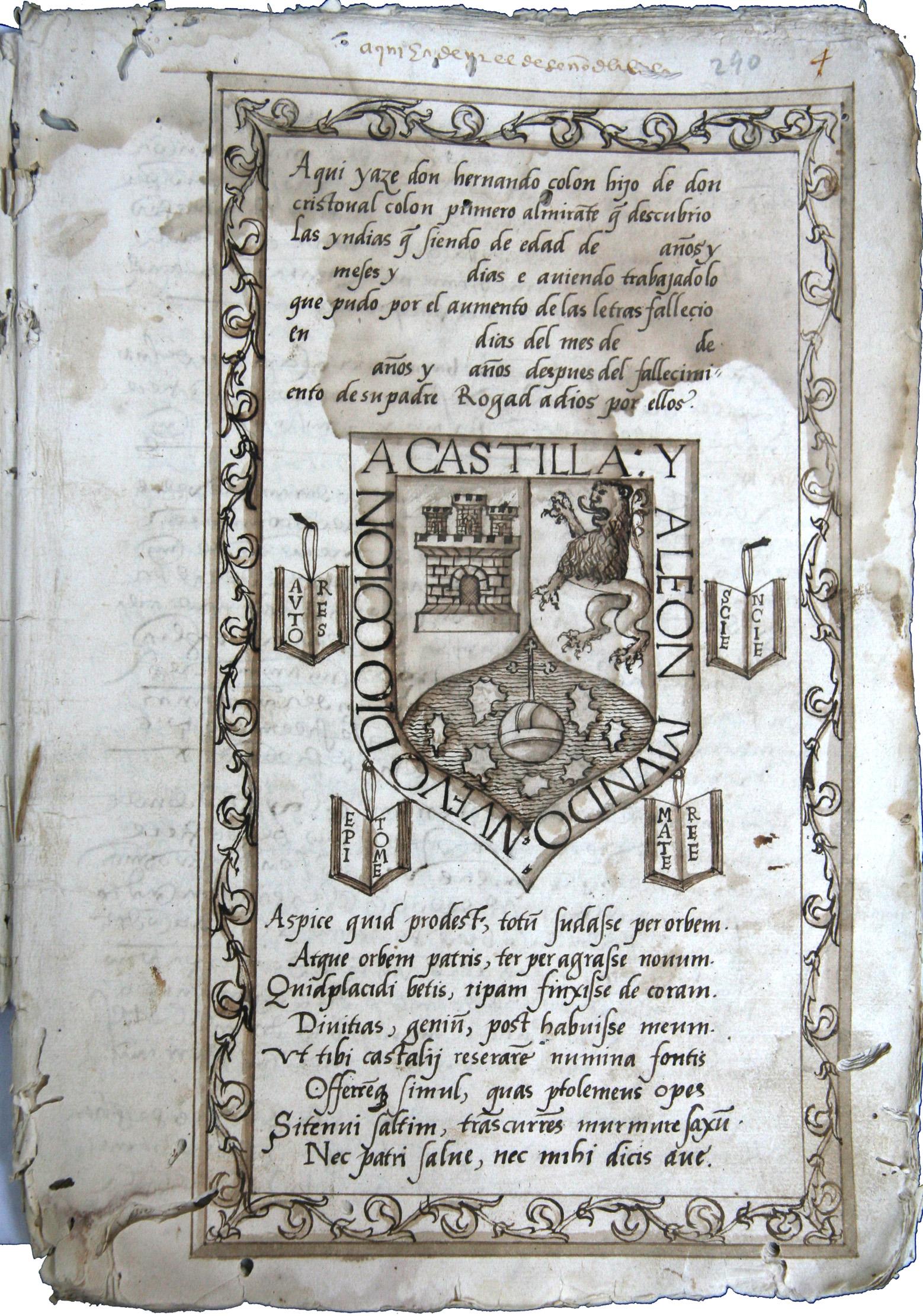 Diseño para la inscripción sepulcral de Hernando, preparado por él mismo, e incluido en su Testamento. Reproducido con permiso del Archivo Histórico Provincial de Sevilla.
