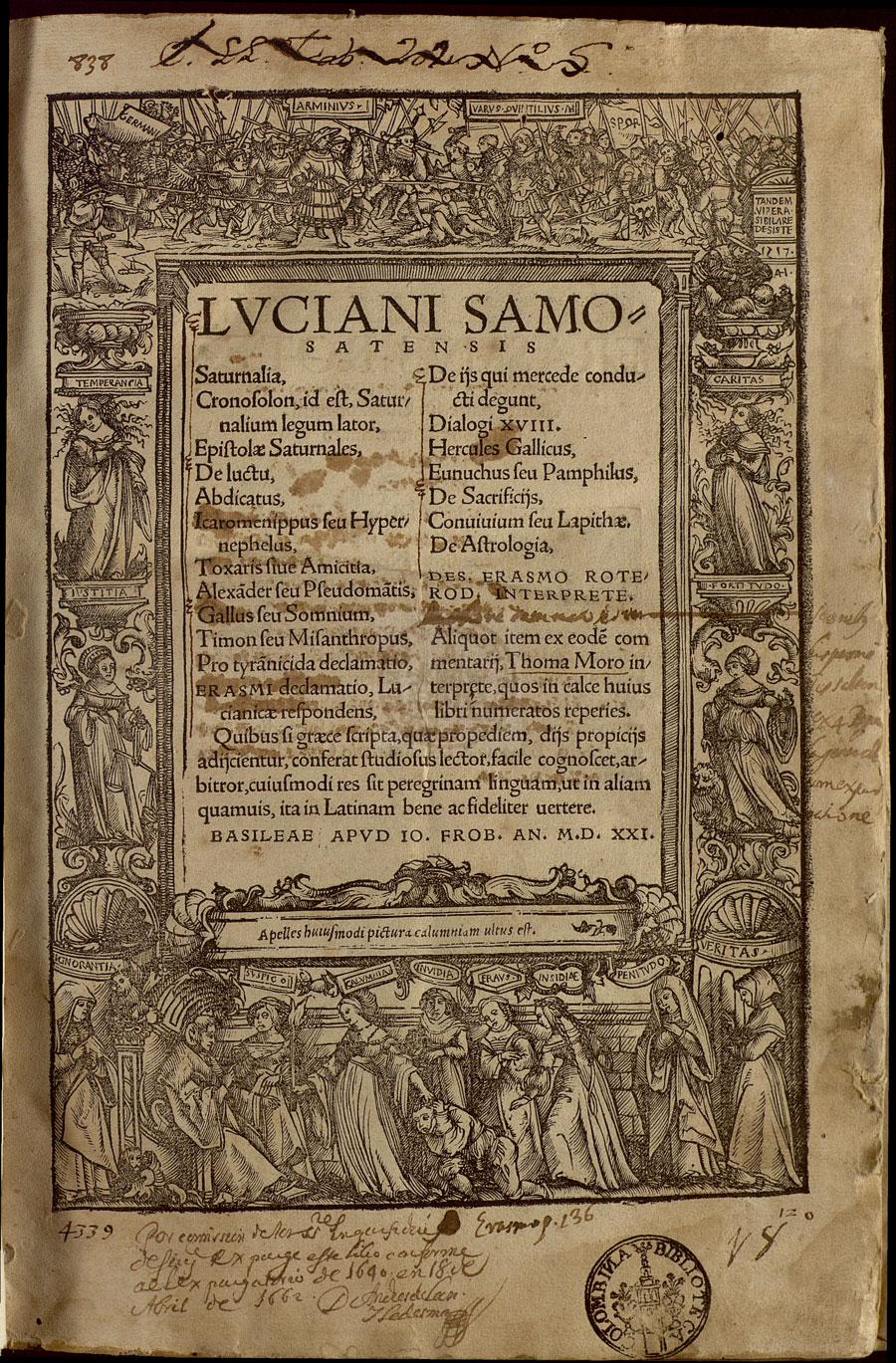 Luciani Samosatensis Saturnalia (Basel: Frobenius, 1521).
